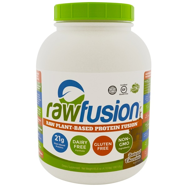 Raw Fusion, 原生態植物蛋白混合粉,天然巧克力,6、56盎司(1861、8克)