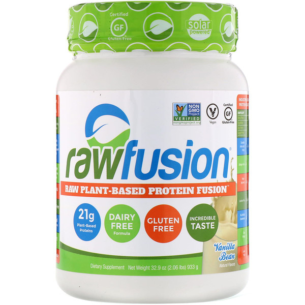 RawFusion, Raw Plant-Based Protein Fusion, Vanilla Bean, 2.06 lbs (933 g) (Discontinued Item)
