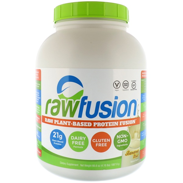 Raw Fusion, Plant-Based Protein Dusion, Banana Nut, 66、6 oz (1887、6 g)