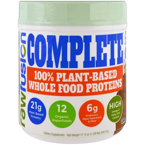 Raw Fusion, Complete,100%天然植物蛋白,巧克力,17、4盎司(491、9克)
