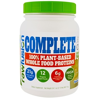 Raw Fusion, Complete, 100% Plant-Based Whole Food Protein, Vanilla, 34.1 oz (967.4 g)