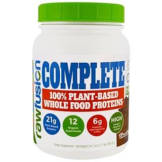 Raw Fusion, コンプリート、100%植物性自然食品プロテイン、チョコレート、34.7オンス (983.8 g)