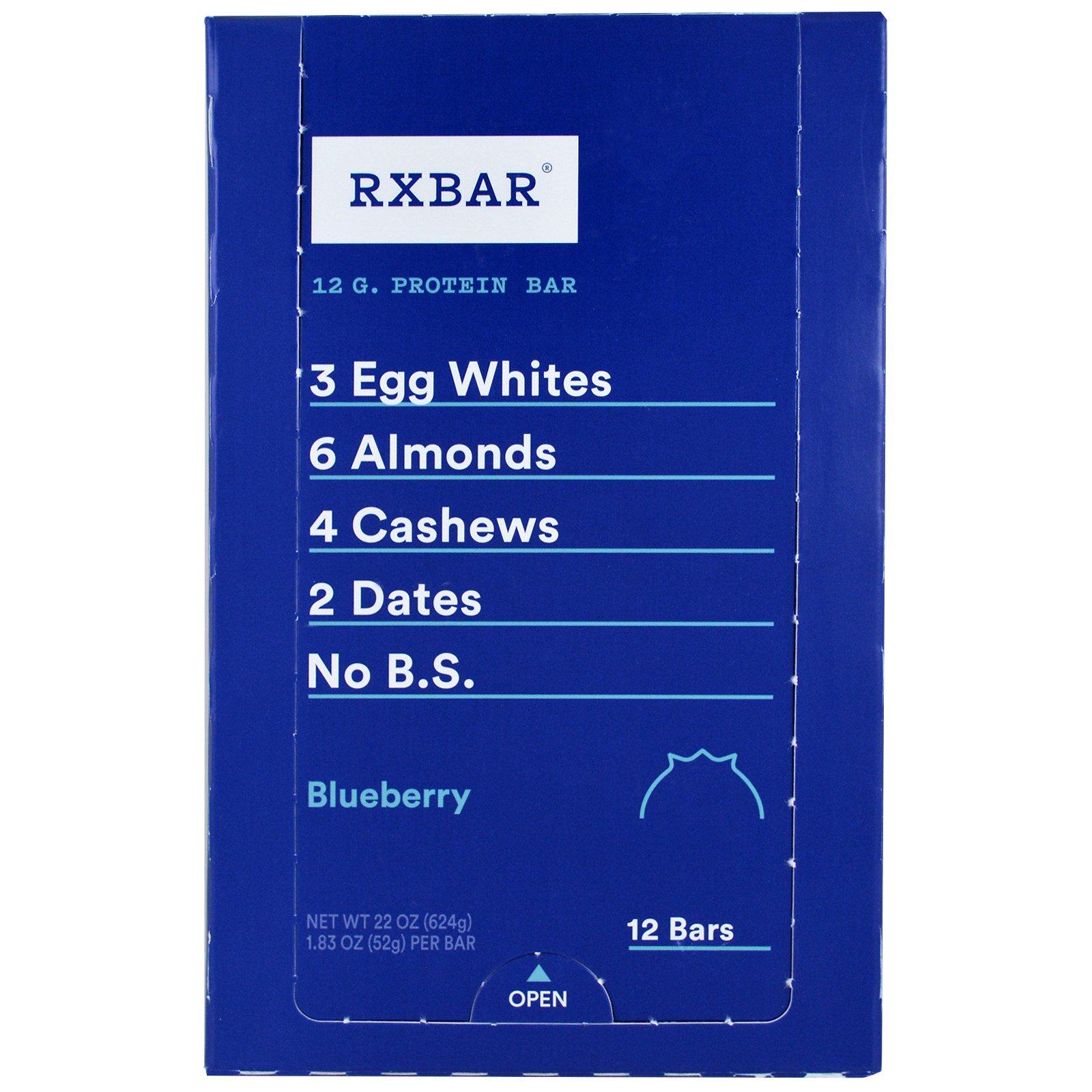 RXBAR, Протеиновые батончики, черника, 12 батончиков, 52 г (1,83 унции) каждый