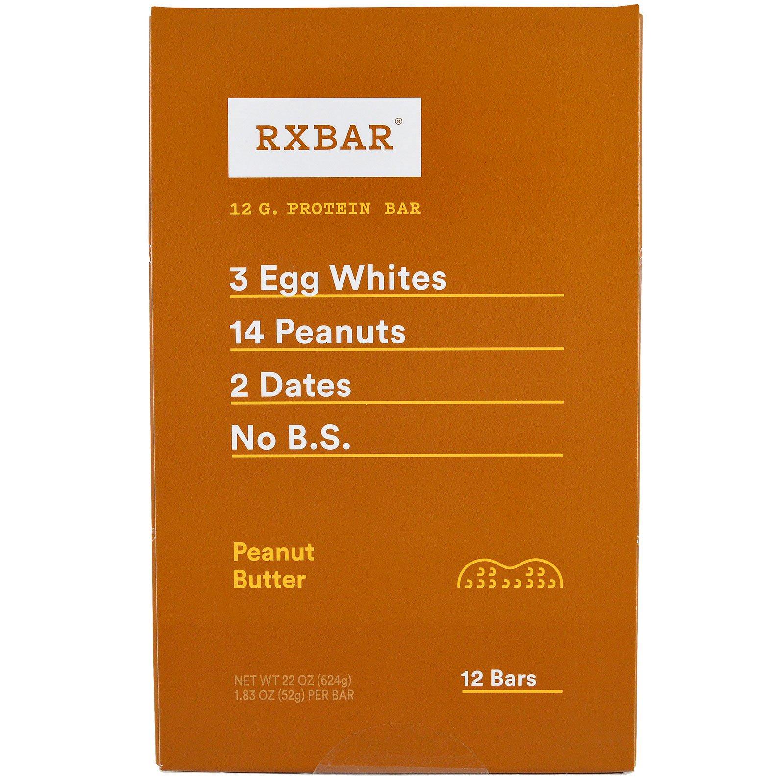 RXBAR, Протеиновые батончики, арахисовое масло, 12 батончиков, 52 г (1,83 унции) каждый