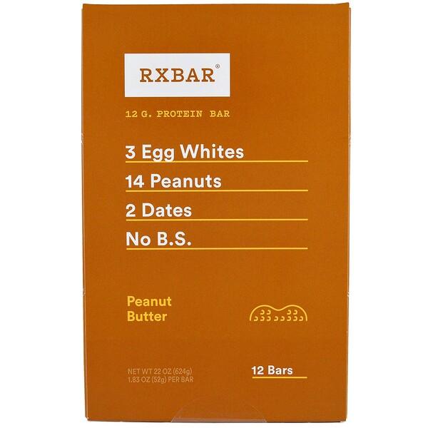 RXBAR, Protein Bars, Peanut Butter, 12 Bars, 1.83 oz (52 g) Each