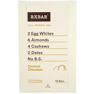 RXBAR, Protein Bars, Coconut Chocolate, 12 Bars, 1.83 oz (52 g) Each