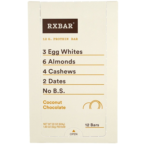 RXBAR, 蛋白棒,椰子巧克力味,12 條,每條 1、83 盎司(52 克)