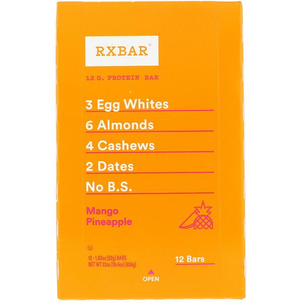 RXBAR, Protein Bar, Mango Pineapple, 12 Bars, 1、83 oz (52 g) Each