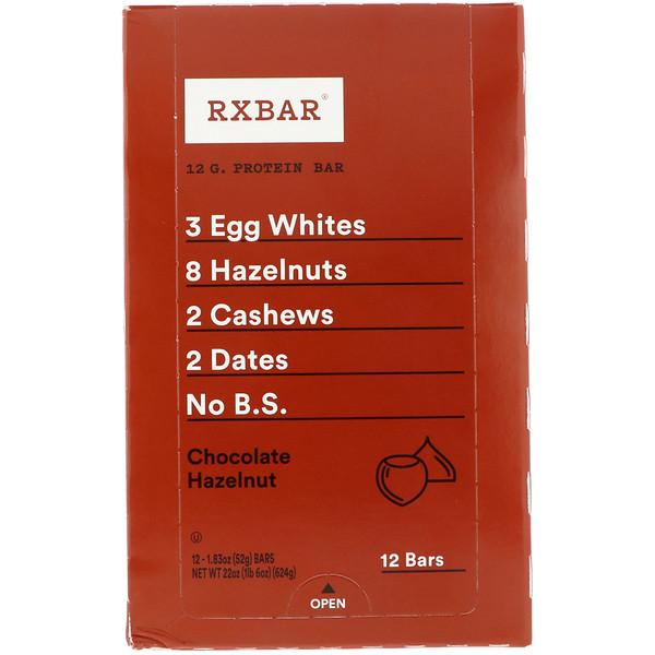 RXBAR, Protein Bar, Chocolate Hazelnut, 12 Bars, 1.83 oz (52 g) Each