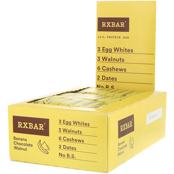 RXBAR, Protein Bar, Banana Chocolate Walnut, 12 Bars, 1.83 oz (52 g) Each