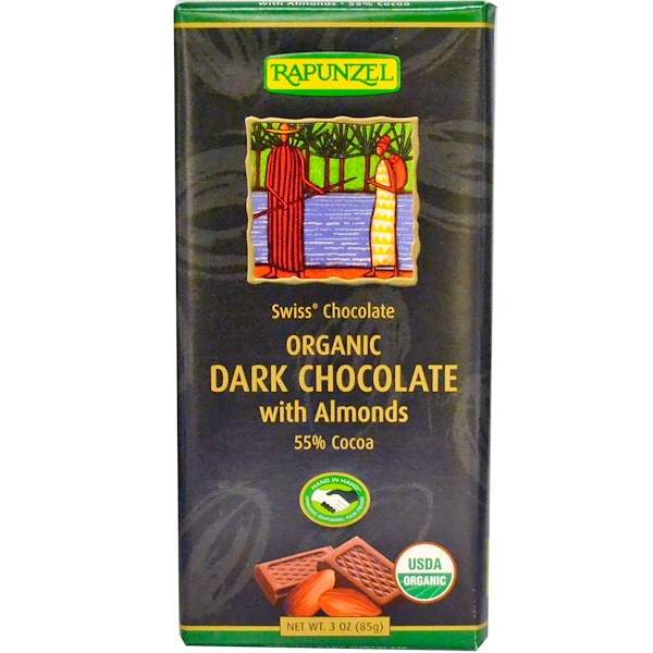 Rapunzel, Organic Dark Chocolate with Almonds, 3 oz (85 g) (Discontinued Item)