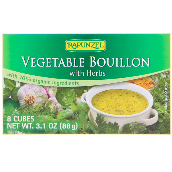 Rapunzel, Vegan Vegetable Bouillon with Herbs, 8 Cubes 3.1 oz (88 g) (Discontinued Item)