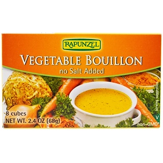 Rapunzel, Vegan Vegetable Bouillon, No Salt Added, 8 Cubes 2.4 oz (68 g)