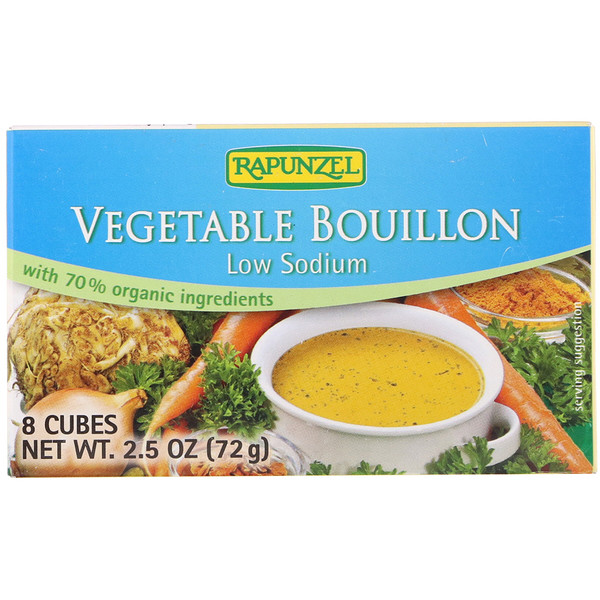 Rapunzel, Vegan Vegetable Bouillon, Low Sodium, 8 Cubes 2.5 oz (72 g) (Discontinued Item)
