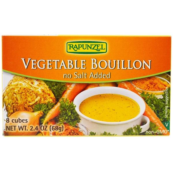 Rapunzel, 純素蔬菜湯,不加鹽,8 塊,2、4 盎司(68 克)