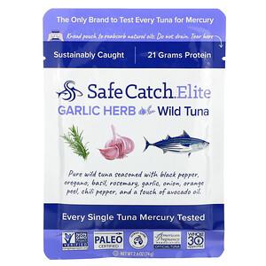 Safe Catch, Elite, Wild Tuna, Garlic Herb, 2.6 oz (74 g)'