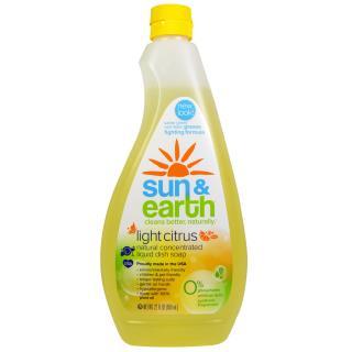 Sun & Earth, Liquid Dish Soap, Light Citrus, 22 fl oz (650 ml)