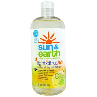Sun & Earth, Natürliche Handseife, Helle Zitrone, 16 fl oz (473 ml)