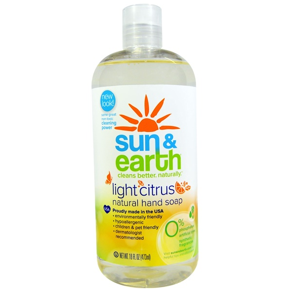 Sun & Earth, Natural Hand Soap, Light Citrus, 16 fl oz (473 ml)