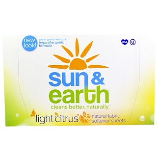 "Sun & Earth, Natural Fabric Softener Sheets, Light Citrus, 80 Sheets, 6.4"" x 9"" Each"