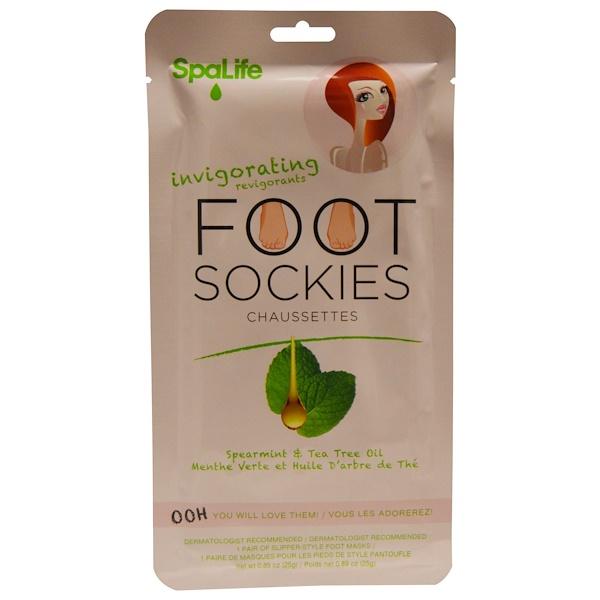 My Spa Life, Invigorating Foot Sockies, Spearmint & Tea Tree Oil, 1 Pair Foot Masks, 0、89 oz (25 g)