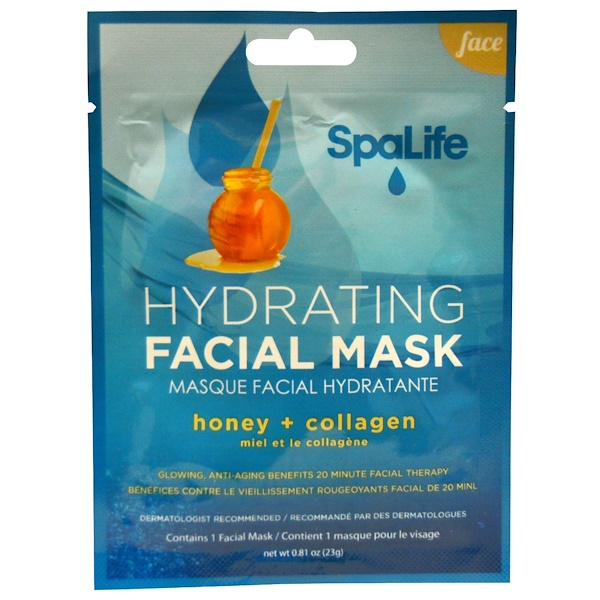 My Spa Life, SpaLife, Hydrating Facial Mask, Face, 1 Facial Mask, 0.81 oz (23 g)
