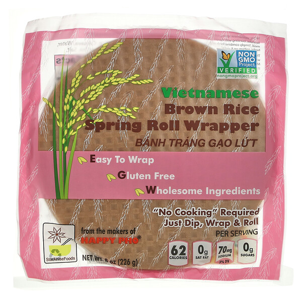 Brown Rice Spring Roll Wrapper, 8 oz (226 g)