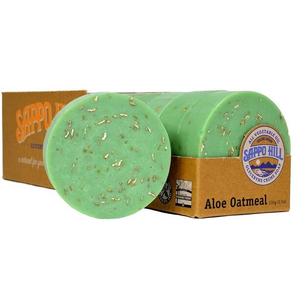 Sappo Hill, Глицериновое мягкое мыло, Алое и толокно,12 штук по 3.5 унции (100 г)