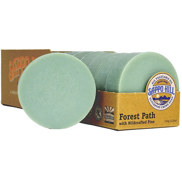 Sappo Hill, Glycerine Creme Soap, Forest Path Wildcrafted Pine, 12 Bars, 3.5 oz (100 g)