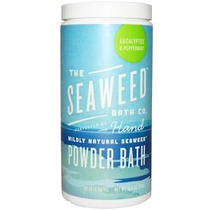 Seaweed Bath Co., Натуральный порошок для ванны из морских водорослей, эвкалипт и мята перечная, 476 г (16,8 унций) инструкция, применение, состав, противопоказания