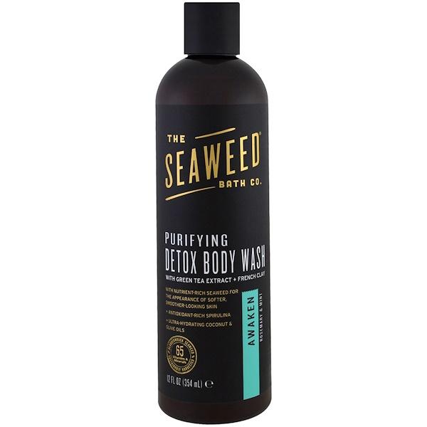 Seaweed Bath Co、, 淨化排毒沐浴露,喚醒,迷迭香和薄荷味,12液體盎司(354毫升)