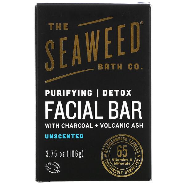 The Seaweed Bath Co., Purifying Detox Facial Bar, Unscented, 3.75 oz (106 g)