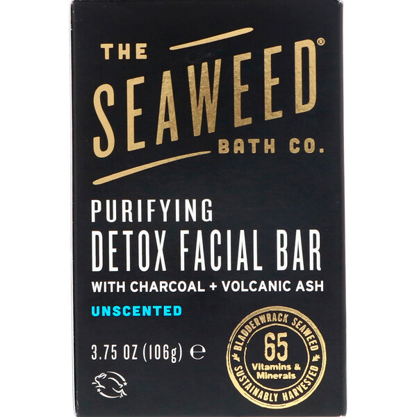 The Seaweed Bath Co., Purifying Detox Facial Bar, Unscented, 3.75 oz (106 g)