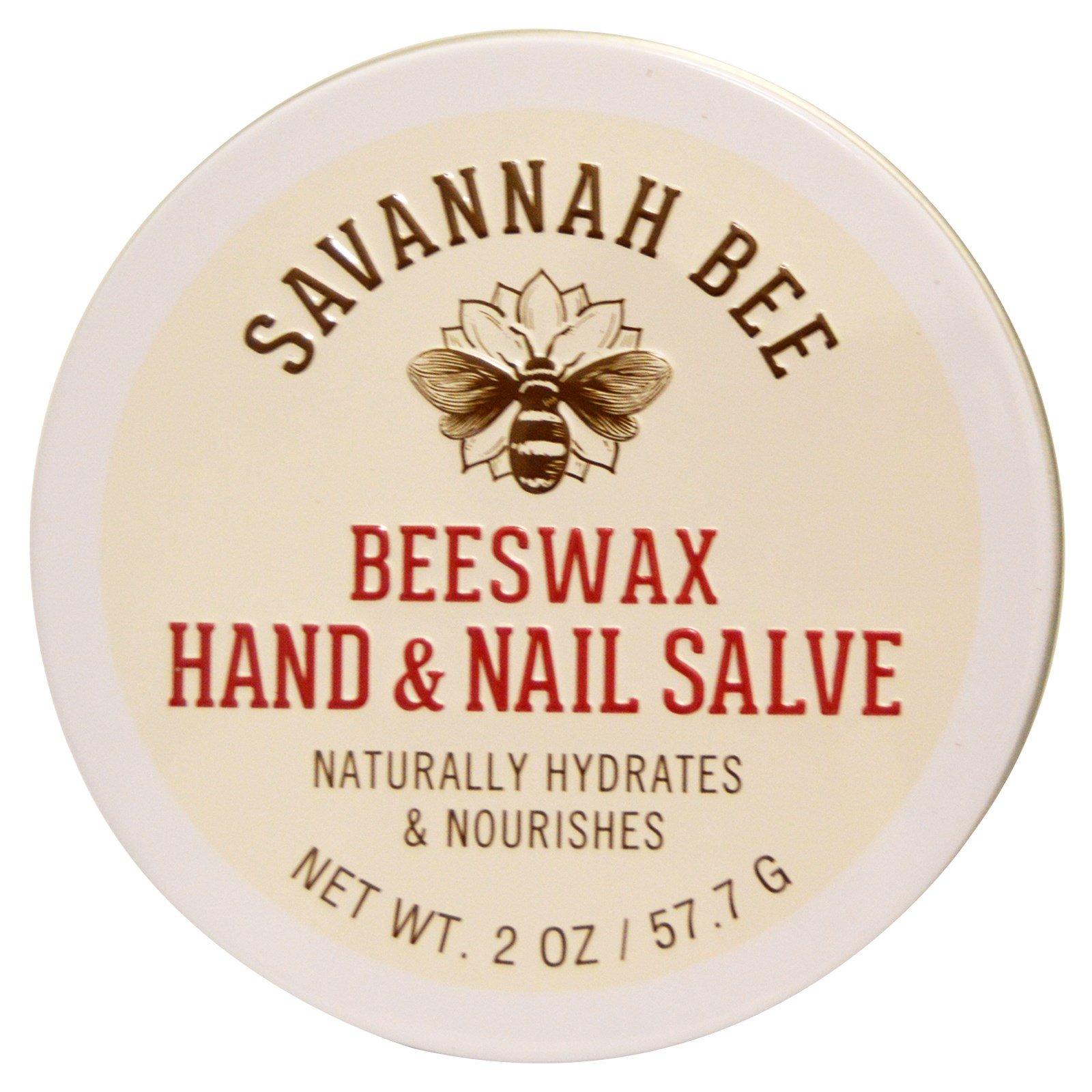 Savannah Bee Company Inc, Органическая мазь с пчелиным воском для рук и ногтей, 2 унции (57,7 г)