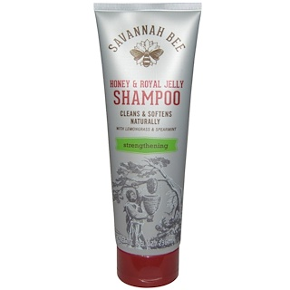Savannah Bee Company Inc, Honey & Royal Jelly Shampoo, Lemongrass & Spearmint, Strengthening, 8 fl oz (236 ml)