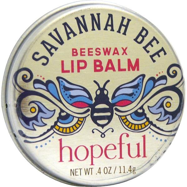 Savannah Bee Company Inc, Hopeful Beeswax Lip Balm, Coconut Vanilla, .4 oz (11.4 g) (Discontinued Item)