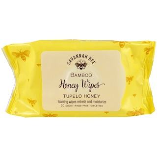 Savannah Bee Company Inc, Bamboo Honey Wipes, Tupelo Honey, 30 Towelettes