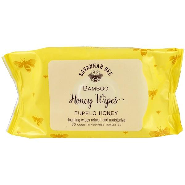 Savannah Bee Company Inc, Bamboo Honey Wipes, Tupelo Honey, 30 Towelettes