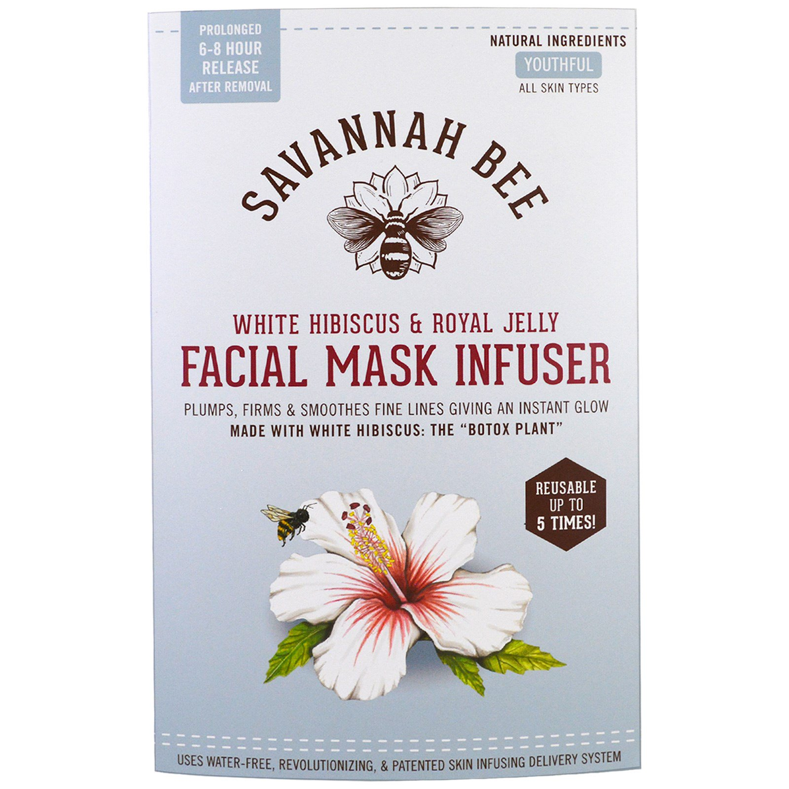 Savannah Bee Company Inc Facial Mask Infuser White Hibiscus Jellys Pure Face Power Soap Royal Jelly 1