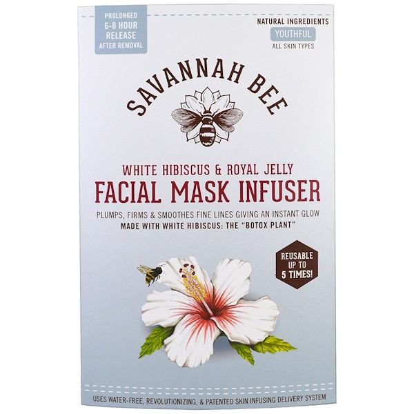 Savannah Bee Company Inc, Facial Mask Infuser, White Hibiscus & Royal Jelly, 1 Reusable Mask (Discontinued Item)