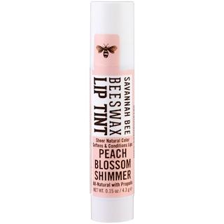 Savannah Bee Company Inc, Beeswax Lip Tint, Peach Blossom Shimmer , 0.15 oz (4.3 g)