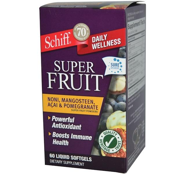 Schiff, Super Fruit, Noni, Mangosteen, Acai & Pomegranate, 60 Liquid Softgels (Discontinued Item)