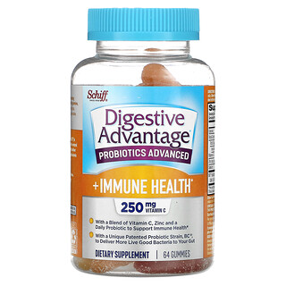 Schiff, Digestive Advantage, Probiotics Advanced + Immune Health, Natural Fruit, 125 mg, 64 Gummies