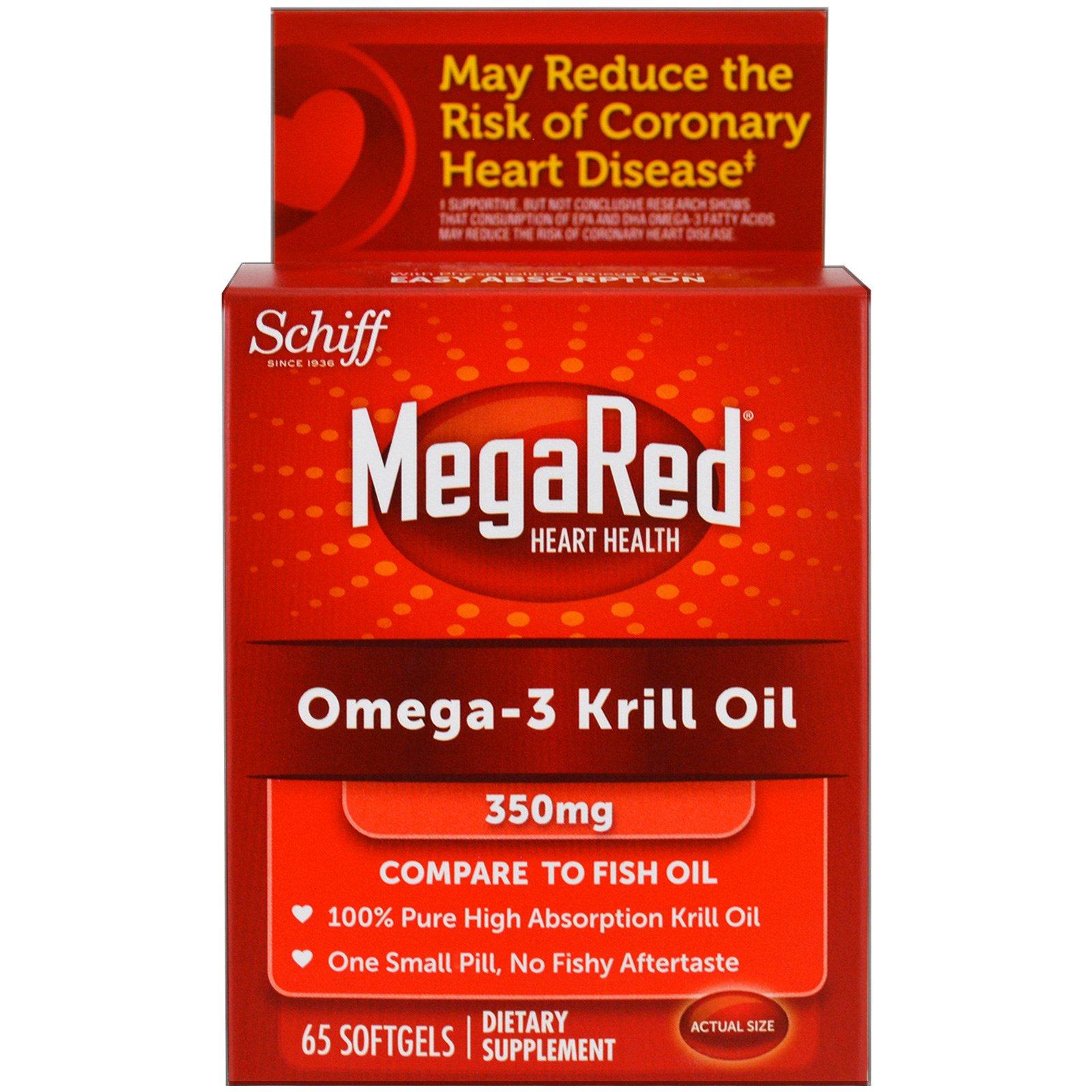 Schiff megared omega 3 krill oil 350 mg 65 softgels for Krill or fish oil