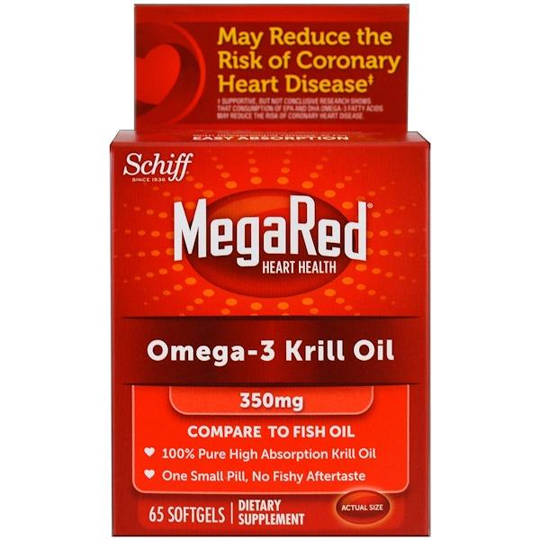 Schiff, MegaRed, масло морского криля с жирными кислотами Омега-3, 350 мг, 65 мягких таблеток