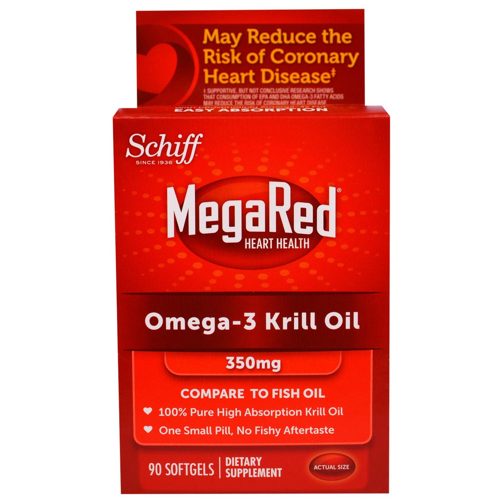 Schiff, Яркокрасное, Омега 3 - Масло Криля, 350 мг, 90 Желатиновых капсул