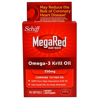 Schiff, MegaRed, Omega-3 Krill Oil, 350 mg, 90 Softgels