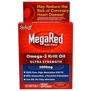 Schiff, MegaRed, Omega-3 Krill Oil, Ultra Strength, 1000 mg, 30 Softgels