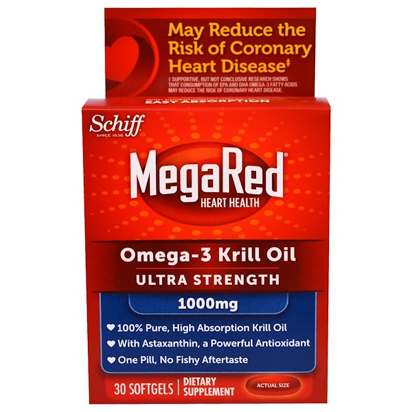 Schiff, MegaRed, Omega-3 Krill Oil, Ultra Strength, 1000 mg, 30 Softgels (Discontinued Item)