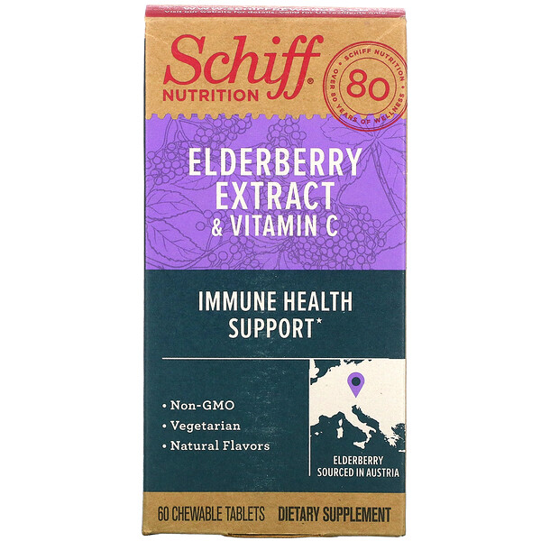 Schiff, Elderberry Extract & Vitamin C, 60 Chewable Tablets